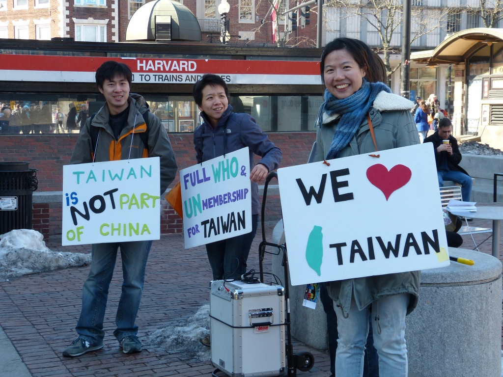 Standing up for Taiwan in Harvard Square.